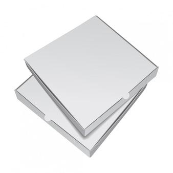 피자 포장 상자 세트입니다. 현실적인 그림 프리미엄 벡터