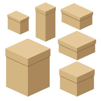 포장 공예 상자 세트입니다. 평면 벡터 만화 일러스트 레이 션. 흰색 배경에 고립 된 개체입니다.