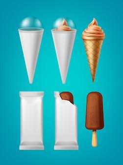 分離されたコーンアイスクリームと古典的なアイスキャンディーアイスクリームのパッキングのセット