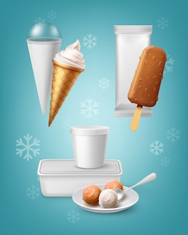 分離されたさまざまな種類のアイスクリームのパッキングのセット