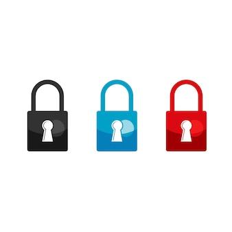 Набор вектора дизайна замка для безопасного символа