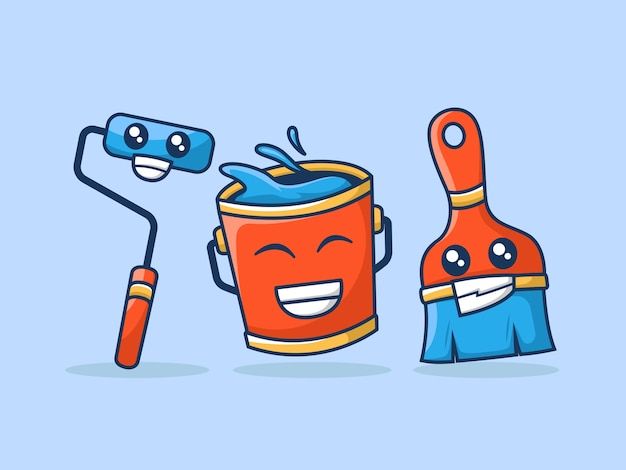 Набор инструментов для рисования милая иллюстрация