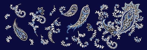 Набор пейсли и цветущих ветвей. индийский народный мотив. векторная иллюстрация