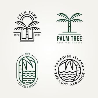 ヤシの木のミニマリスト線画アイコンロゴテンプレートベクトルイラストデザインのセット