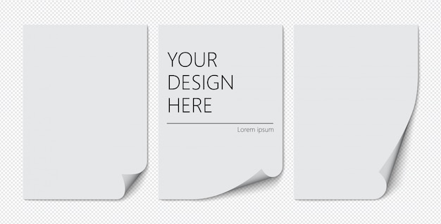 Набор бумаги а4 с загнутым уголком на прозрачном фоне с тенями, реалистичные бумажные страницы.