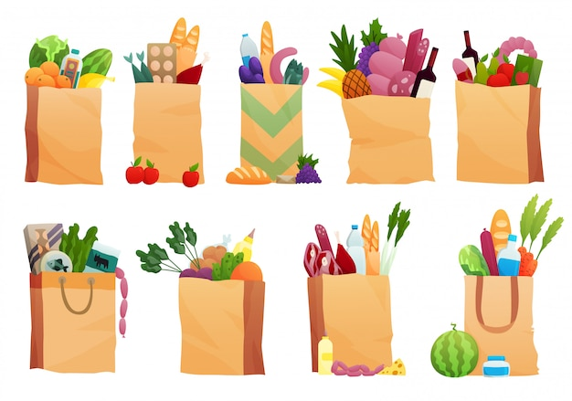 Комплект бумажной сумки с свежей едой - иллюстрацией в плоском стиле. различные продукты питания и напитки, продуктовые магазины. фрукты, овощи, ветчина, сыр, хлеб, молоко
