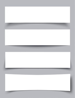 Набор бумажных баннеров с тенями, материальный дизайн векторные иллюстрации