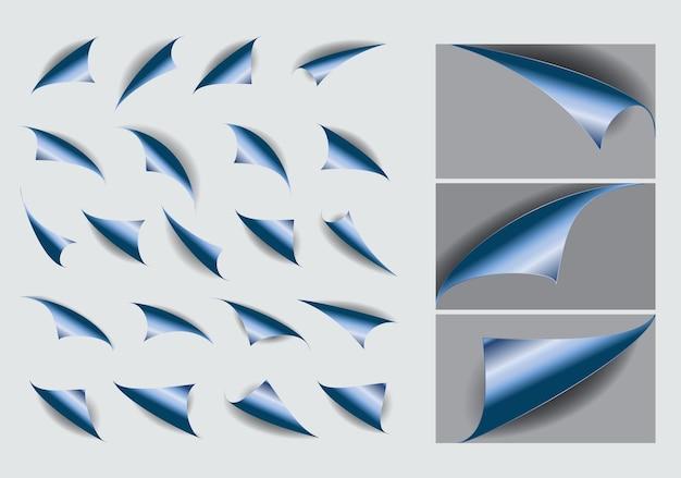 Набор завитков бумаги с реалистичной тенью или загнутыми углами пустая пустая книга или изогнутая страница сгиба