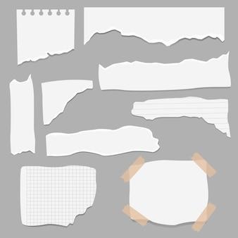 紙のさまざまな形のスクラップのセット。破れた紙、破れたページの断片、スクラップブックのメモ用紙。テクスチャページ、テクスチャメモシートまたはノートブックシュレッド。