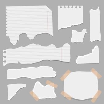 紙のさまざまな形のスクラップのセット