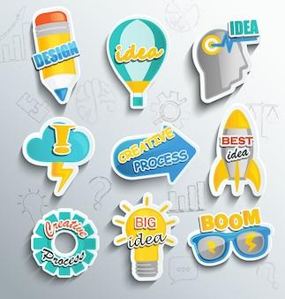 Набор бумажных значков для бизнеса.