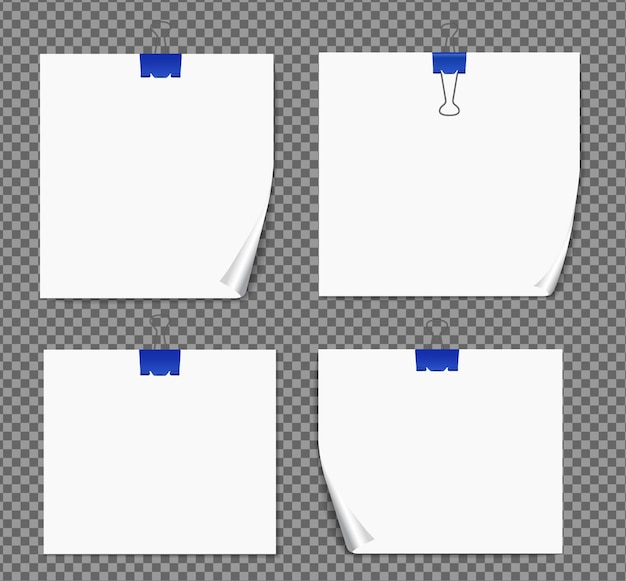 Набор бумаги на прозрачной с тенями, реалистичной странице бумаги.