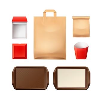 Набор бумажной упаковки для ресторанов быстрого питания с пластиковым коричневым лотком