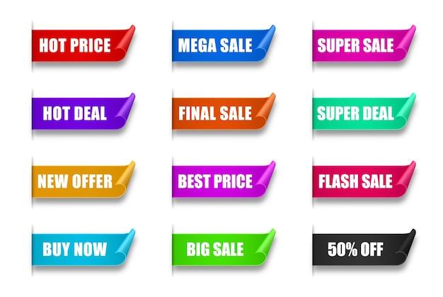 종이 판매 스티커 세트 최고의 선택 주문 지금 특별 제안 새롭고 큰 판매 배너