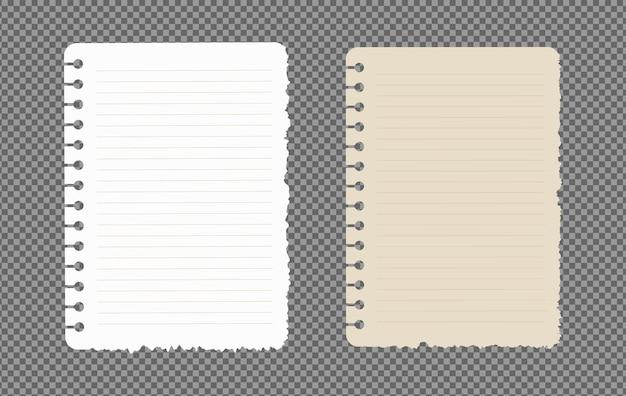 그림자가있는 종이 시트 a4, a5, 현실적인 종이 페이지 세트