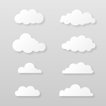 Набор бумажных белых облаков с мягкой тенью облачный шаблон, изолированные на сером фоне