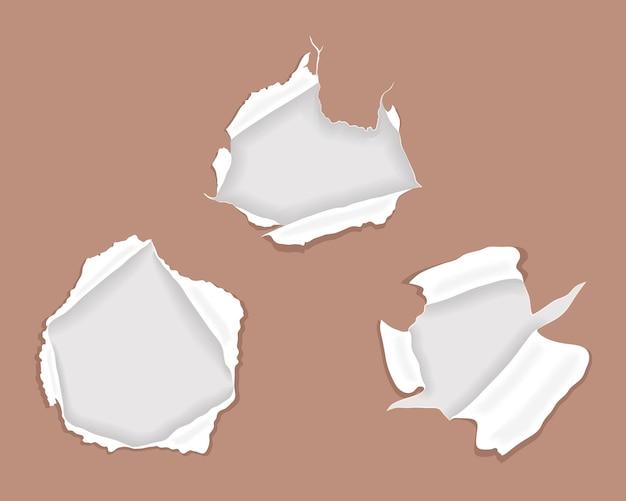 破れたり破壊された紙のセット