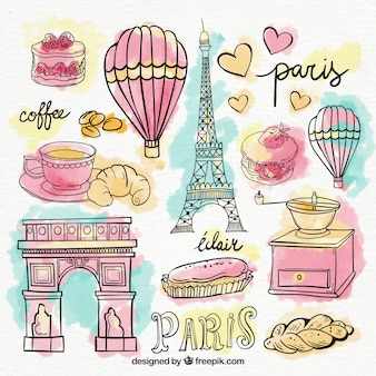 Set of paris elements in watercolors