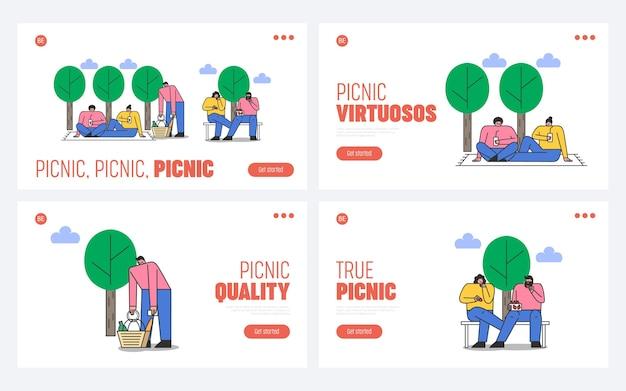 웹 사이트에 대한 공원 피크닉 방문 페이지 집합입니다. 신선한 공기에 휴식을 취하는 사람들