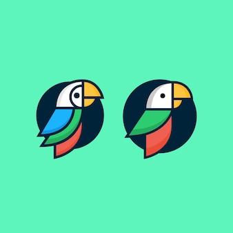 앵무새 다채로운 이국적인 열 대 야생 조류 컬렉션의 집합
