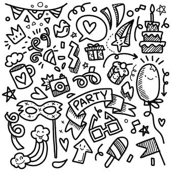 파티 그림 손으로 그린 낙서 스케치 선 세트