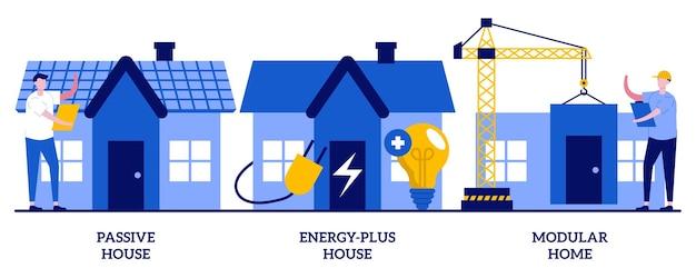 パッシブでエネルギープラスの家、モジュラー住宅、革新的な民間建設技術のセット