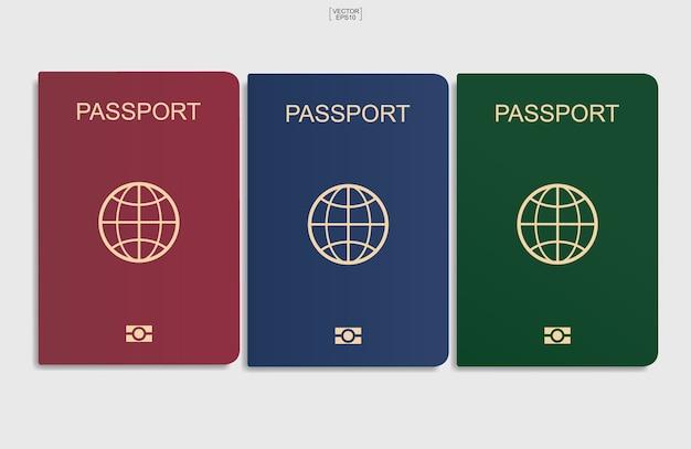 흰색 배경에 여권 세트입니다. 벡터 일러스트입니다.