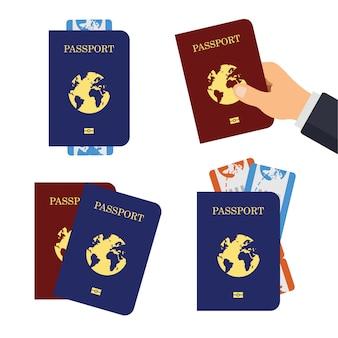 パスポートカバーと航空券のセット。航空会社の搭乗券のフラットなデザイン。テンプレートは、白い背景で隔離。