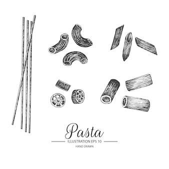パスタのセット。手描きのビンテージ黒と白の要素。