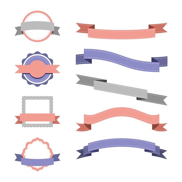 파스텔 배지 디자인 벡터의 집합