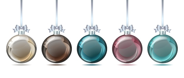 白い背景の上のパステルカラーのクリスマスボールのセットです。図。