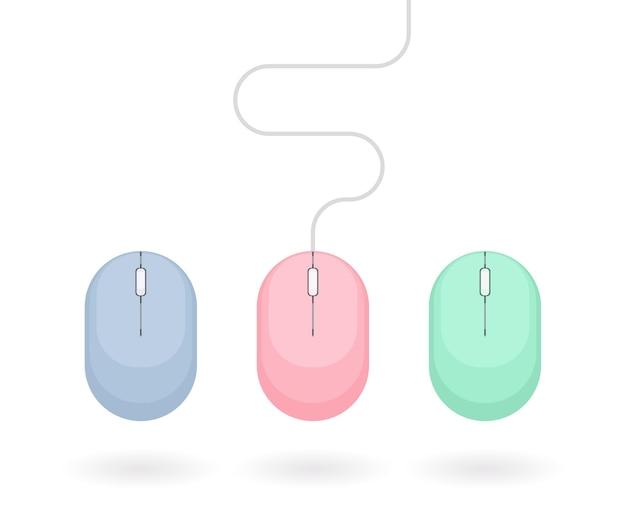 파스텔 색상의 컴퓨터 마우스 세트입니다. 흰색 배경에 고립 된 간단한 평면 벡터 일러스트 레이 션