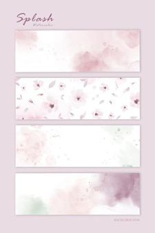 水平背景のパステルピンクの水彩画のセットです。装飾的なデザインの要素として使用される芸術的なベクトルを染色します。