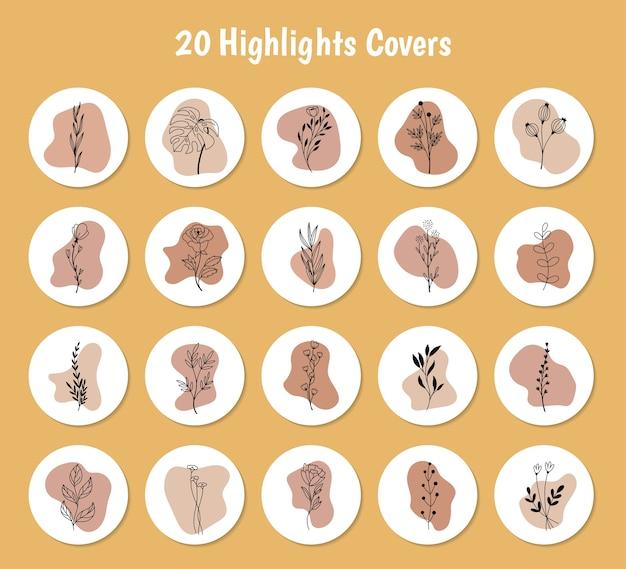 Набор пастельных форм с цветочными подсветками обложек для instagram