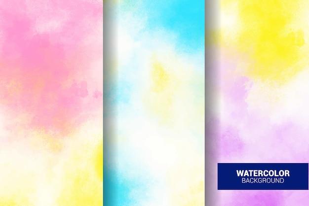 Набор пастельных акварельных фонов. гранж текстуры. цифровое искусство живопись