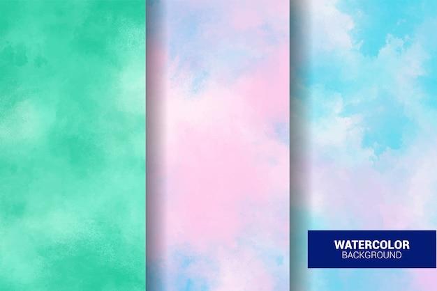 パステル水彩画のセット