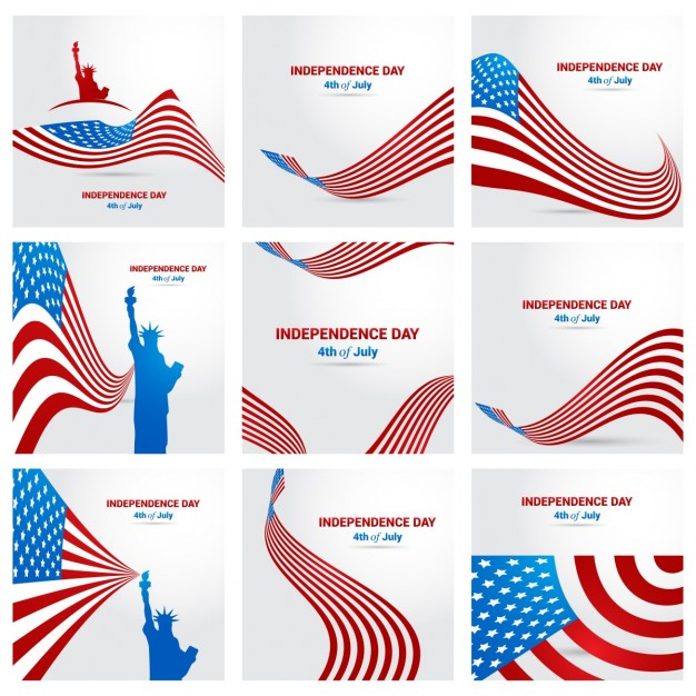 Set of patriotic background for fourth of july