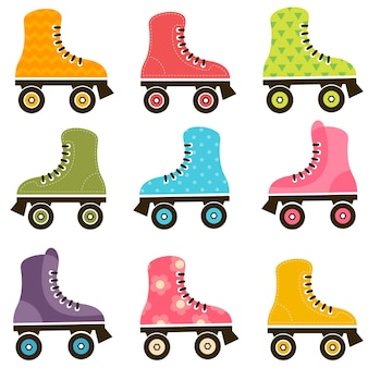 パターン化されたローラースケートのセット