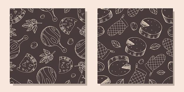 조각 스타일에 치즈 조각 패턴의 집합입니다.