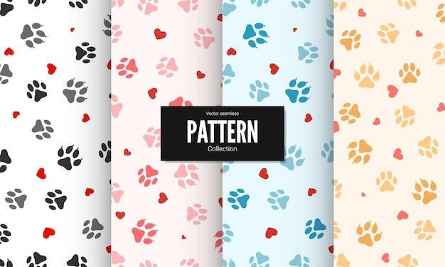 Набор бесшовных текстур печати лапы. текстильные следы кошки картины с сердечками. кошка след бесшовные модели.