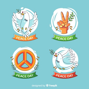 Set of peace day badges