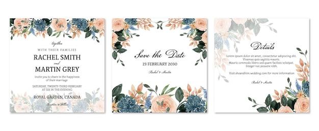 복숭아와 파란색 소박한 꽃 결혼 초대장 세트
