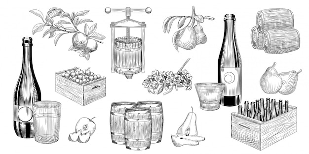 Набор из груши и яблочного сидра. урожай груш, яблок, пресс, бочка, бокал и сидр.