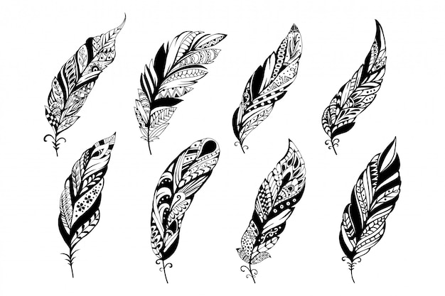 比類のない装飾的な羽のイラストのセット