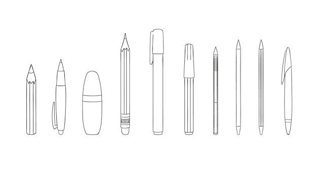 ペンと鉛筆の線のアイコンのセットです。白い背景で隔離のベクトル色の文房具、筆記材、事務用品または学用品。漫画のスタイル