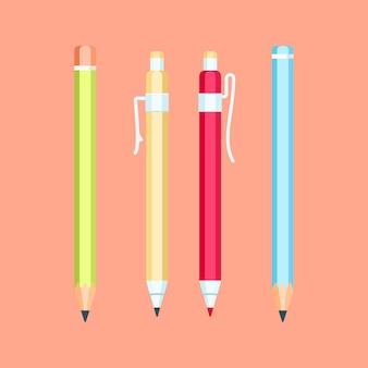 연필과 볼펜의 집합입니다. 현대 평면 문구 디자인