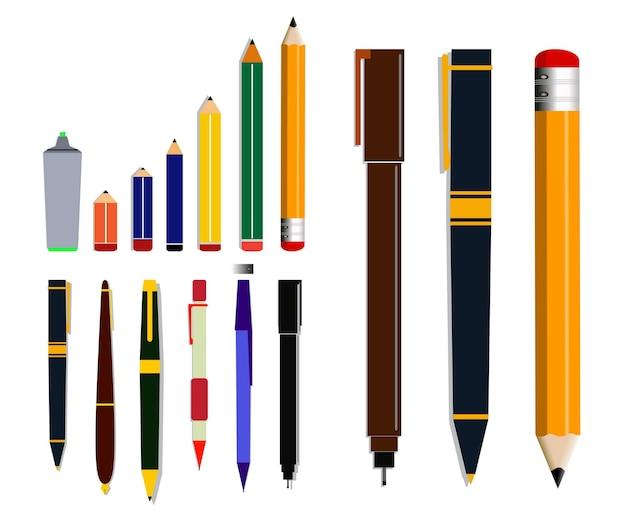 평면 모드 eps 벡터의 연필 또는 볼펜 세트