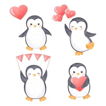 ペンギンのクリップアートのセット
