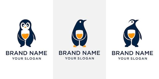 회사 로고에 적합한 펭귄 주스 컨셉 로고 디자인 세트