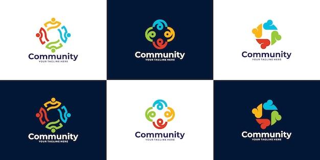 チームまたはグループの人々とコミュニティのロゴデザインのセット